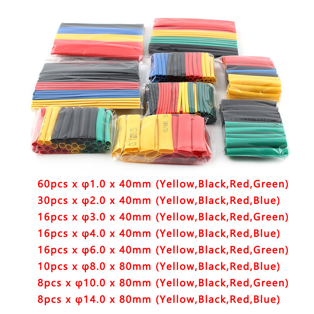 164pcs/Set Heat Shrink Tube Heat Shrinkage Polyolefin Shrink Kit Assorted Insulated Sleeving Tubing Wrap Wire Cable Sleeve Kit