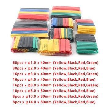 цена на 164pcs/Set Heat Shrink Tube Heat Shrinkage Polyolefin Shrink Kit Assorted Insulated Sleeving Tubing Wrap Wire Cable Sleeve Kit