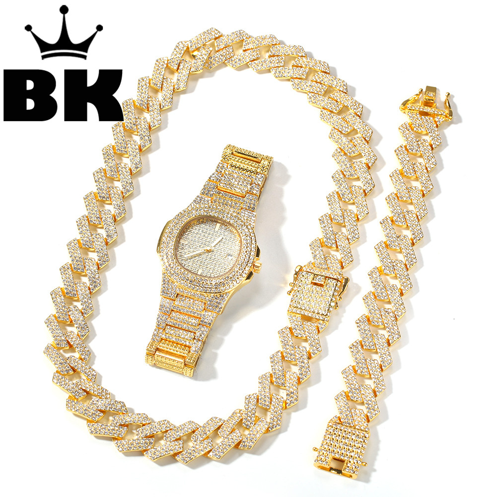2cm Hip Hop Gold Color Iced Out Crystal Cuban Chain Gold Silver Necklace & Bracelet & Watch Set HOT SELLING THE HIP HOP KING