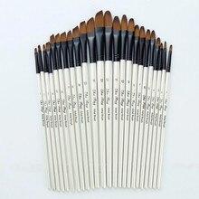 Painting-Brushes Art-Supplies Watercolor Acrylic 12-Artist for Nylon Oil Flat--Tip Kit-Pen
