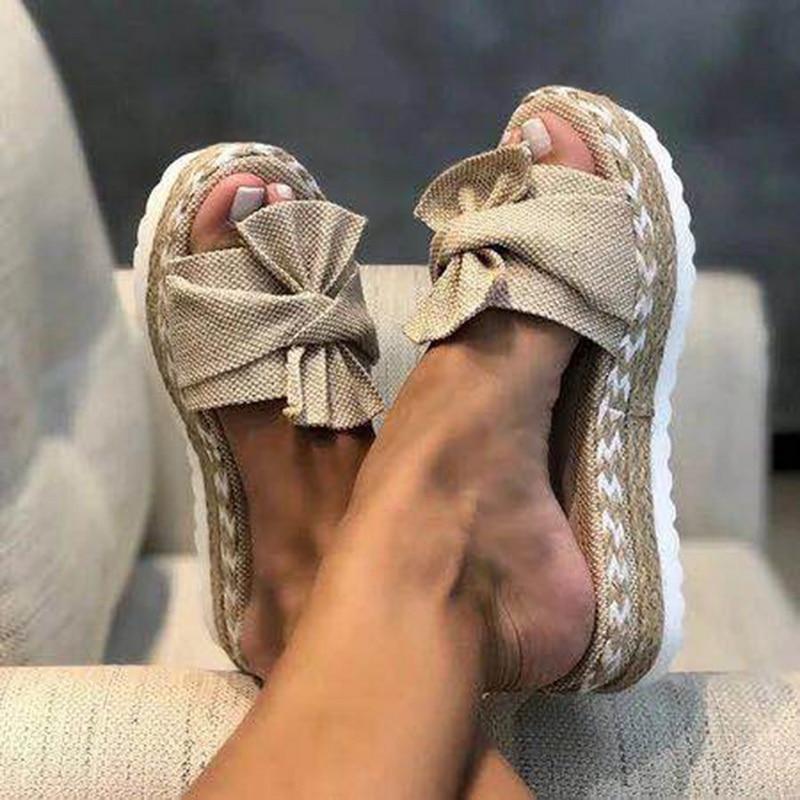 Summer Sandals Fashion Sandals Shoes Women Bow Summer Sandals Slipper Indoor Outdoor Flip-flops Beach Shoes Female Slippers