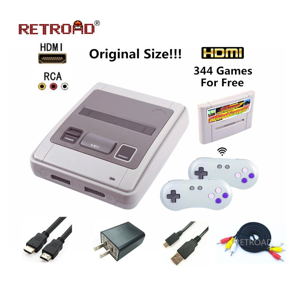 HDMI Retro TV Video Game Console For Snes Game Cartridges with 2 Wireless Gamepads Free Game Card with 344 Games for Nes