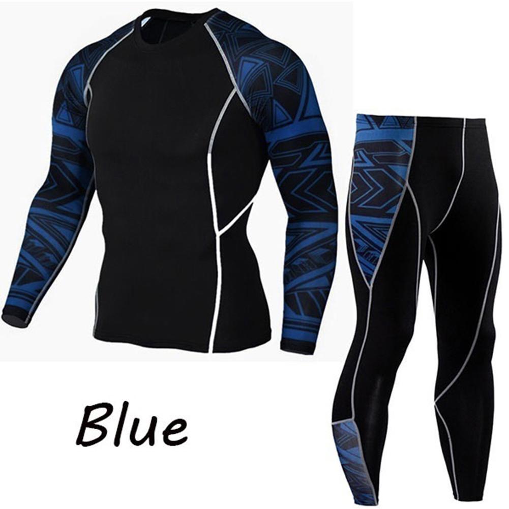 2Pcs/Set(clothing + Pant) Men Printed Tracksuit Compression Shirt Pants Workout Rashguard Tights Tracksuit Sportwear Hoodies Swe