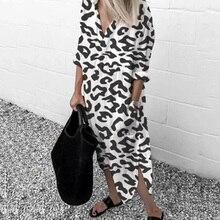 Women Leopard Long Dress Autumn Thin Long Sleeve V-neck Chif