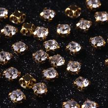 4mm 100pcs Mix Strass Colors Resin Sew On Rhinestones With Gold Claw Flatback White Glass For Garment