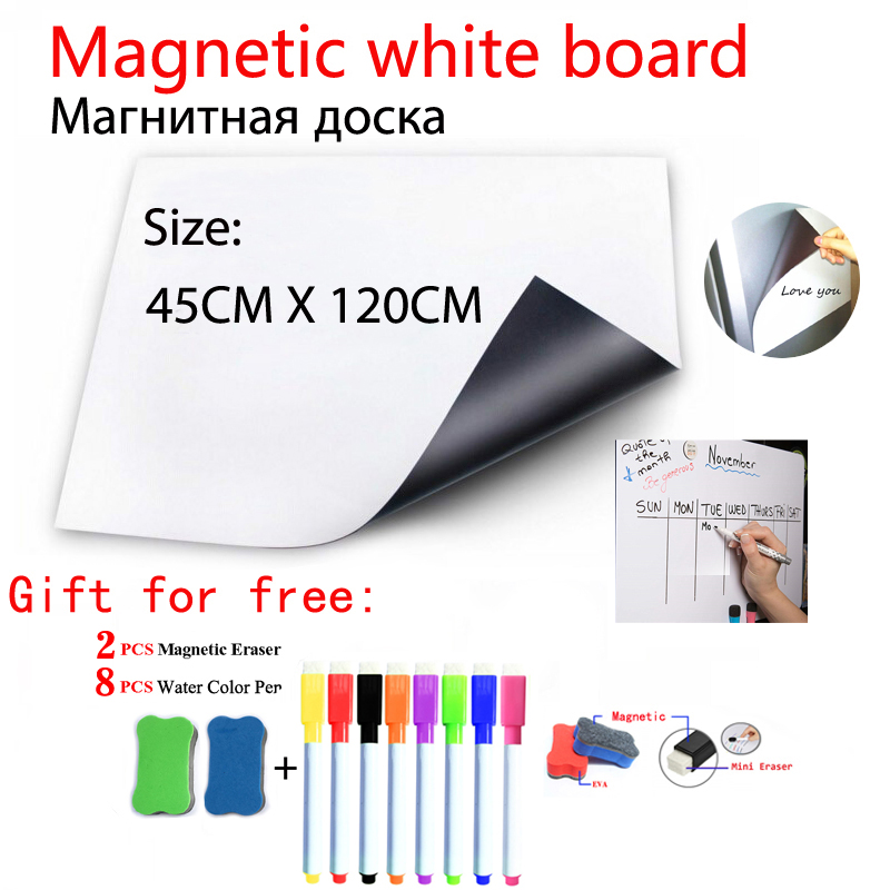 Magnetic WhiteBoard Fridge Magnets Dry-erase Calendar Kids School Board Memo White Board Size 45CMx120CM Gift 8 Pen And 2 Eraser