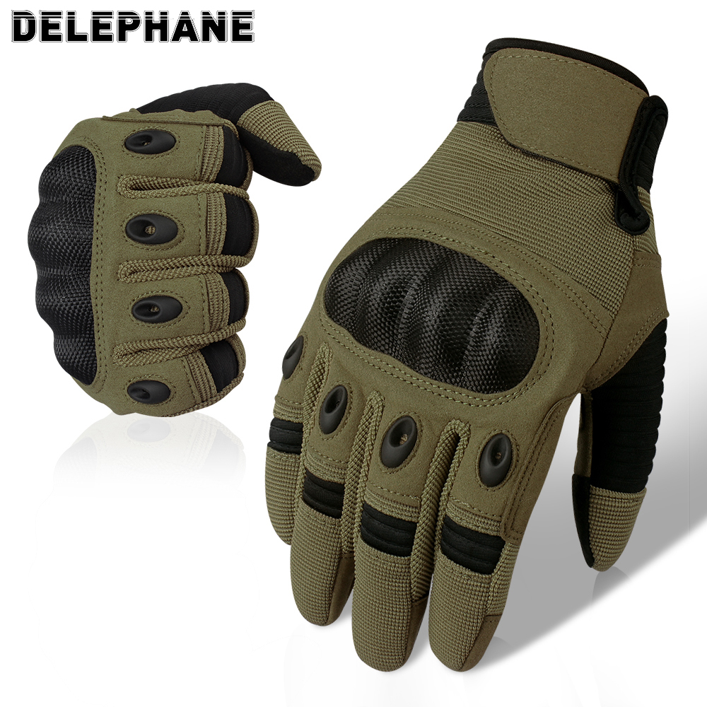 Green Full Finger Tactical Gloves Men Touch Screen Hard Knuckles Shooting Gloves Motorcycle Army Driving Military Gloves Mittens