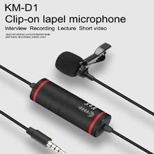 Km-d1 Audio Video Recorder Mic Camera Microphone Lapel Condensor For Canon Nikon DSLR Camcorders IPhone X 7 Plus