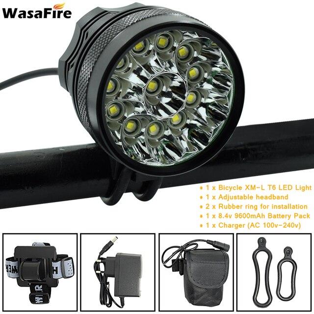 Wasafire 12 * t6 led 2 em 1 bicicleta farol 20000lm luz da frente lâmpada cabeça ciclismo lanterna + 18650 bateria carregador 1