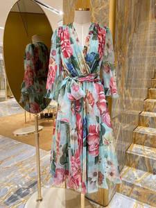 Svoryxiu Long-Dress Runway Silk V-Neck Flower-Print Custom Party Sexy Women's Summer