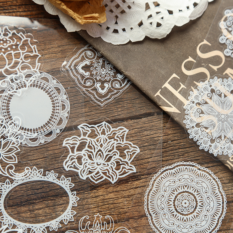4 Sheet Vintage White Lace Flowers Theme Diary Scrapbook Decoration Stationery Sticker Diy Craft Label