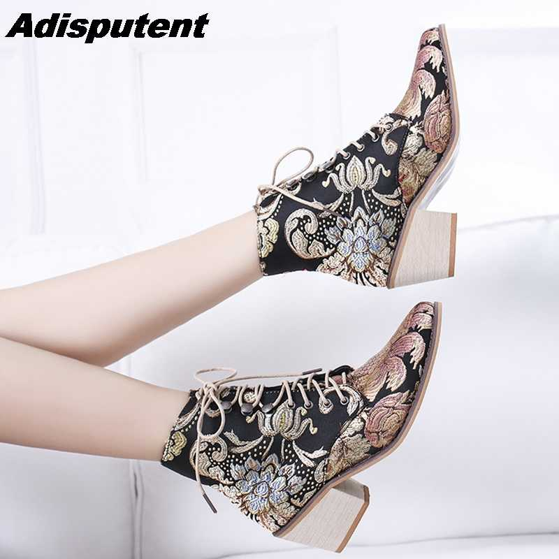 Adisputent Retro Women Boots Embroider Ethnic Ankle Boot Lace Up Pointed Toe Flat Heel Shoes Warm Cowboy Botas Mujer Dropship
