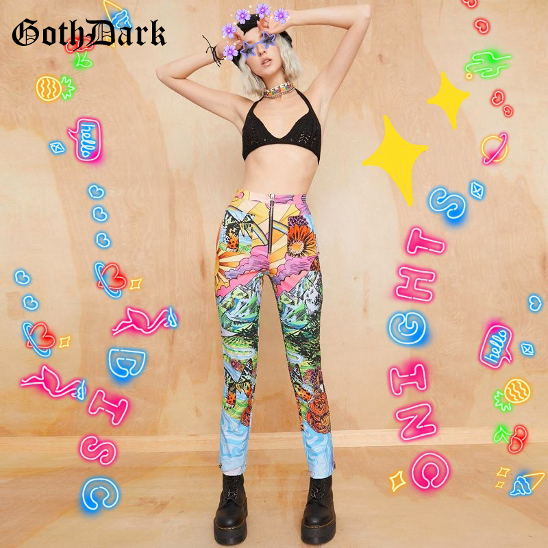 Goth Dark E-Girl High Waist Women Pants Summer Harajuku Streetwear Zipper Print Aesthetic Hot Female Trousers Fashion 2020 90s