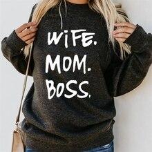 For Women Crew Neck WIFE MOM BOSS Letters Print Hoodies Women Tops Kawaii Sweatshirt Femmes Loose Hoody Corduroy Clothings crew neck bare father christmas print sweatshirt