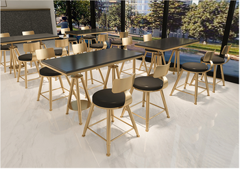 Nordic modern red milk tea shop furniture combination simple fresh coffee shop sweet shop wrought iron chairs small tables and c