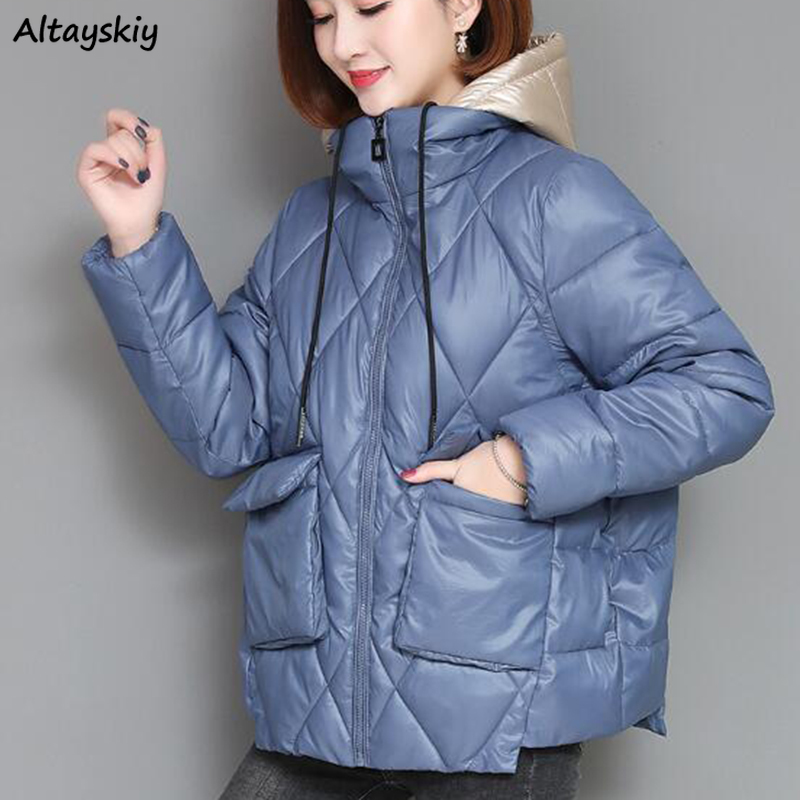 Short Parkas Women Patchwork Hooded Simple Solid Pockets Simple Womens Casual Korean Style Females Daily All-match Winter Chic