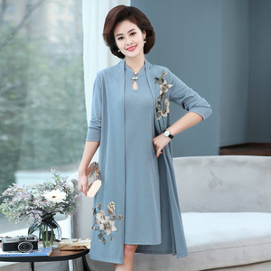 Oriental Style Women Two Pieces Dresses Blue Red dark Pink Flower Knee Length Cardiagn and Sleevless Elegant Dress Woman Spring