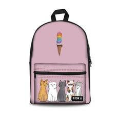 купить Ladies Backpack Teenager Girls School Bag Travel daily Knapsack Cute cartoon cat Printing bookbag for students Mochila Feminina дешево