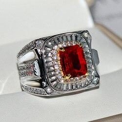 Pochodzenie naturalny 1.5 karatowy rubinowy kamień z Mini diamentową biżuterią prawdziwy 14 K pierścionek z białego złota dla kobiet Hiphop/Rock Rings biżuteria