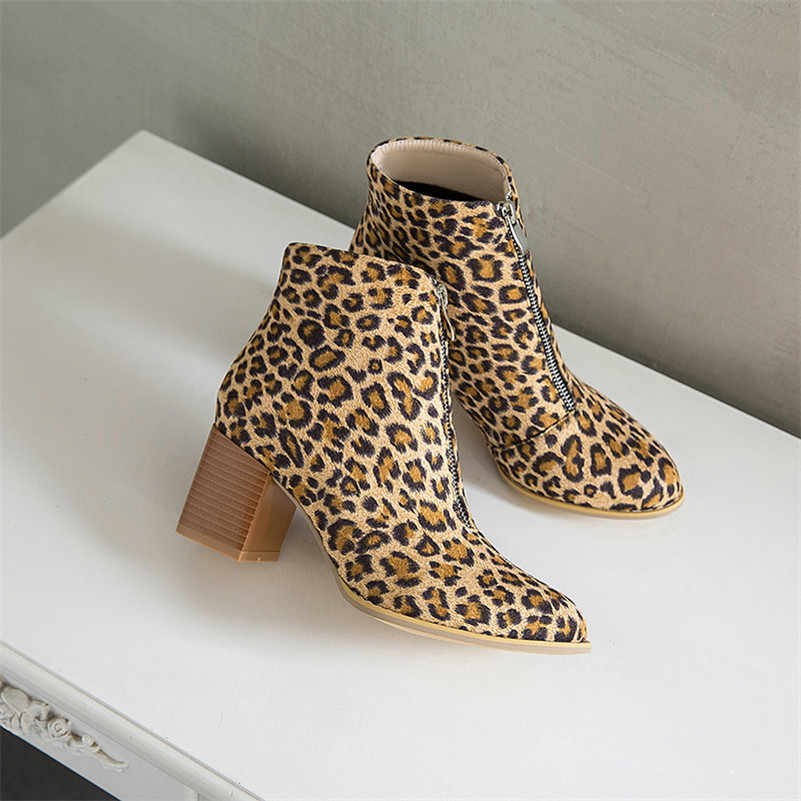 Meotina Herbst Stiefeletten Frauen Leopard Chunky High Heels Kurze Stiefel Zipper Round Toe Schuhe Damen Winter Rot Plus Größe 34-46