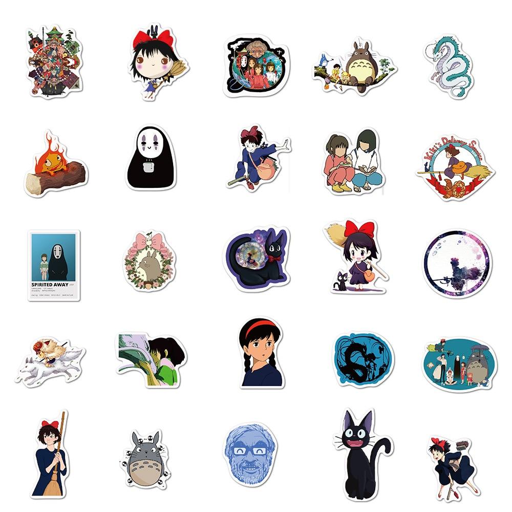50/100PCS Miyazaki Hayao Anime Stickers Moving Castle Spirited Away Cartoon Stickers For Bike Laptop Book Luggage Kids Toys 5