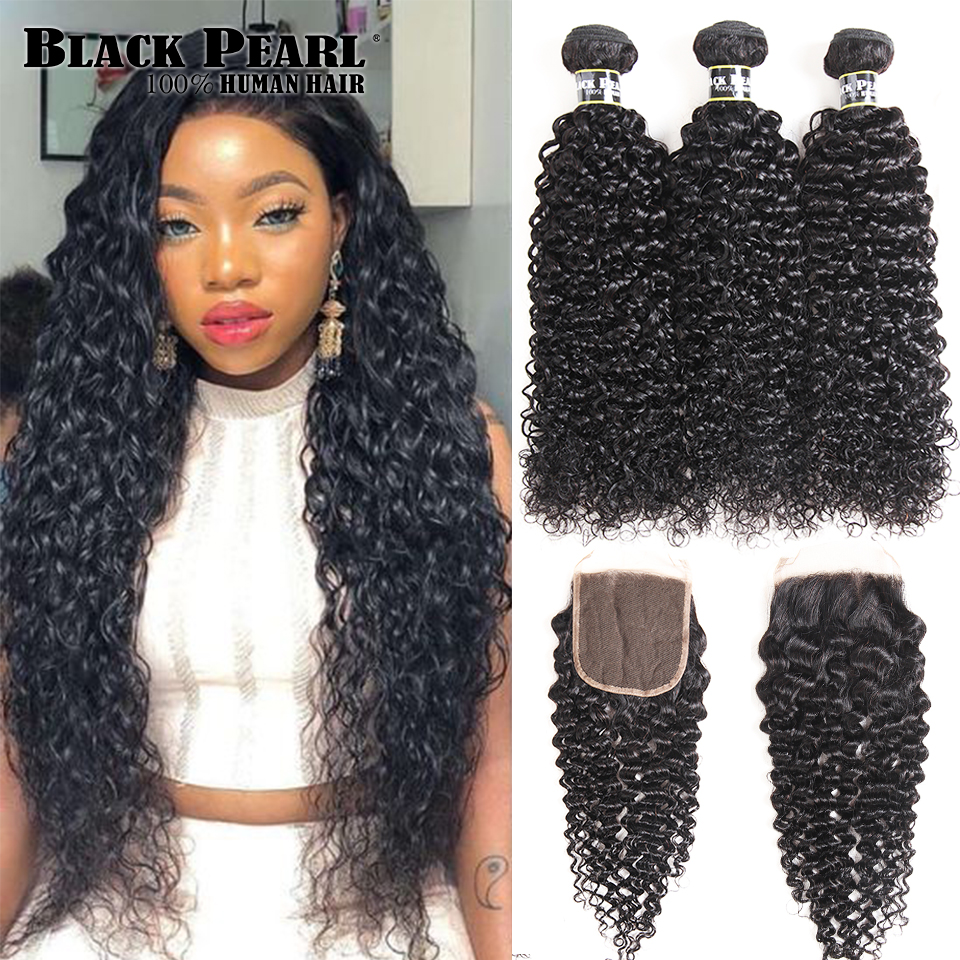 Black Pearl Pre-Colored Human Hair 3 Bundles With Closure Non Remy Brazilian Kinky Curly Bundles With Closure 1B# Hair Extension