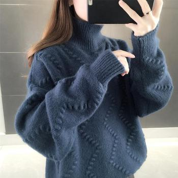 Korean version of solid color wave pattern single-layer high-neck thick pullover sweater women's winter new lazy knit shirt top wave pattern open knit jumper