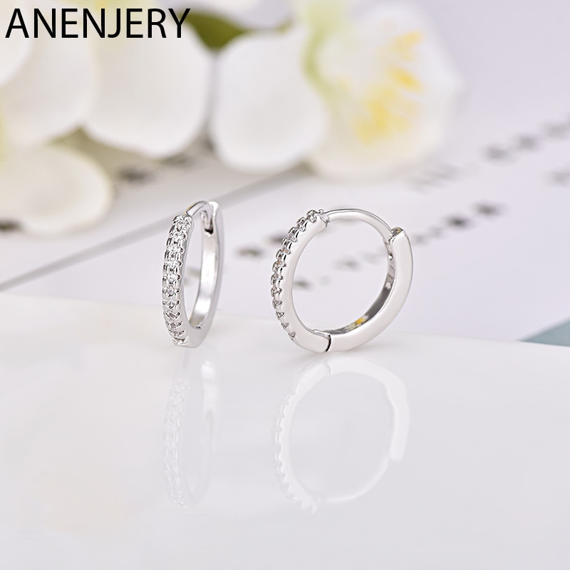 ANENJERY Simple 925 Sterling Silver Single Row Zircon Hoop Earrings For Women Brincos Oorbellen Pendientes S-E929