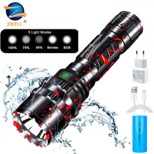 LED Flashlight High Power USB Rechargeable Flashlight 5 Modes Lantern Self Defense Shocker Torch Tactical Lamp By 18650 Battery