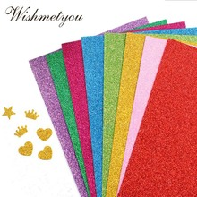 WISHMETYOU 10Pcs A4 One Sided Flash Sponge Paper Back Shining Gold Powder Scrapbooking Handmade Stickers Embossing Mixed Colors