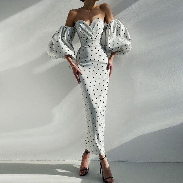 Elegant Lantern Sleeve Club Party Dress Retro Polka Dot Print Women Long Dress Sexy Off Shoulder Strapless Bodycon Dress Vestido 6