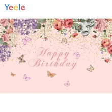 Yeele Happy Birthday Backdrop Pink Flower Butterfly Photocall Baby Customized Photography Background Vinyl For Photo Studio