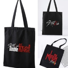 [MYKPOP]Stray Kids Canvas Bag Casual Shopping Bag with Zipper KPOP Fans Collection SA20062701