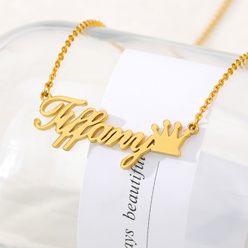 Crown Name Statement Necklace Flower Personalized Jewelry Nameplate Star Choker Gold Butterfly Colar Custom Bridesmaid Gift bf