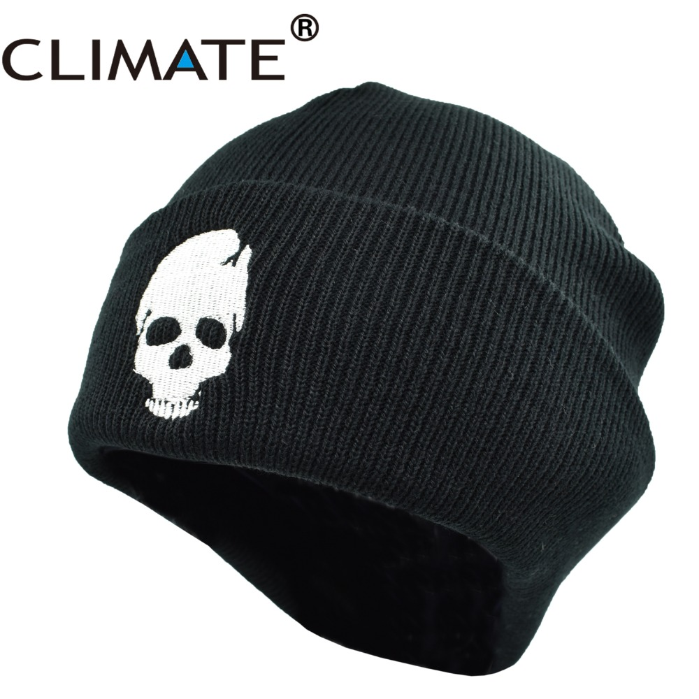 CLIMATE Skeleton Beanies Beanies Winter Hat For Men Warm Knitted Hat Beanies Skulls Cool Black Hip Hop Warm Knitted Hat For Men