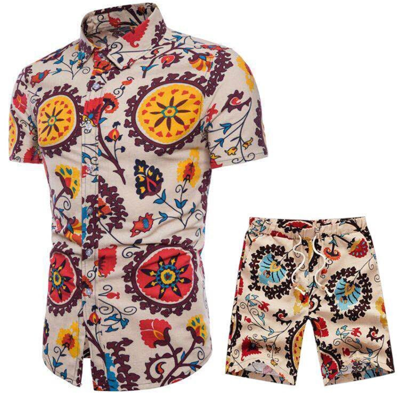 2020 New <font><b>Men</b></font> Vacation Set Tracksuit <font><b>Short</b></font> Pant Ethnic Style Patchwork <font><b>Shorts</b></font> Male <font><b>Suit</b></font> Festival Wear Slim Fit Floral Print Shirt image