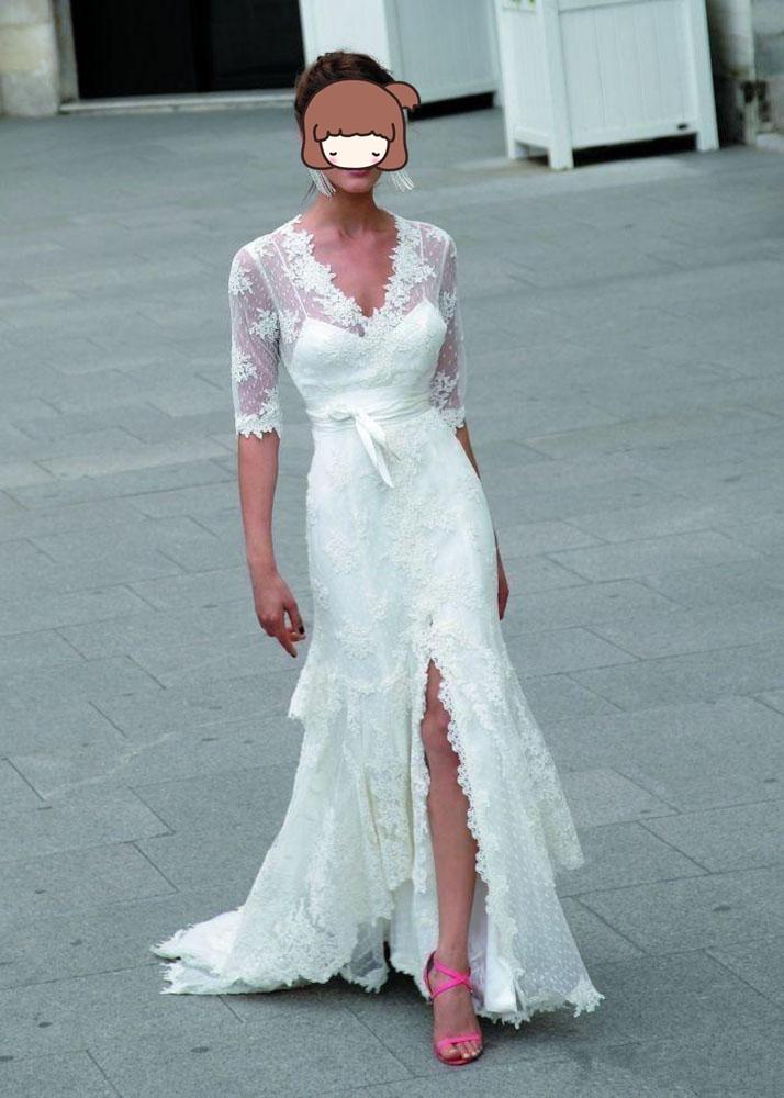 Robe De Mariee Wedding Dresses 2019 V-neck A-line Wedding Dress Half Sleeves Vestido De Noiva Lace Tiered Split Bridal Gown