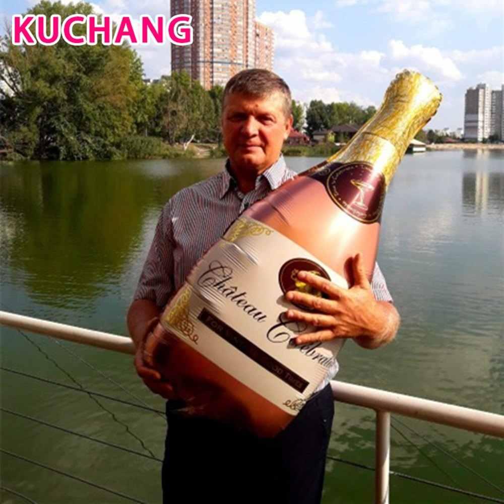 2 pçs grande tamanho champanhe copo garrafa balões da folha de alumínio festa de aniversário do casamento decorações aniversário do chuveiro do bebê balões
