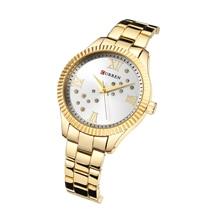 лучшая цена CURREN Dress Ladies Wrist Watches High Quality Water Resistant Rhinestone Women Quartz Watch Gold Stainless Steel Fashion Clock