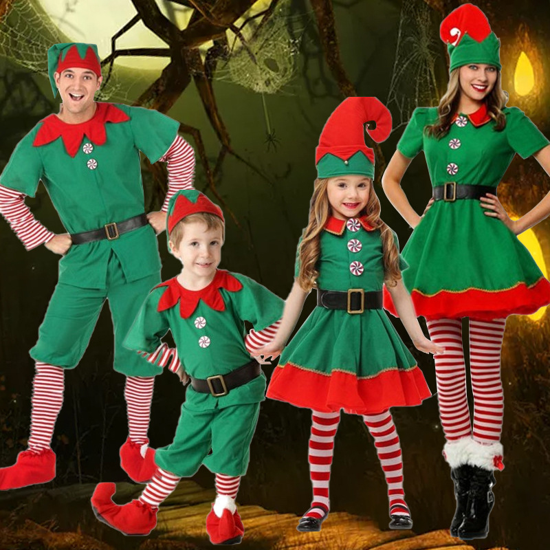 Children/'s Christmas elf costume cosplay parent-child wear adult men and women