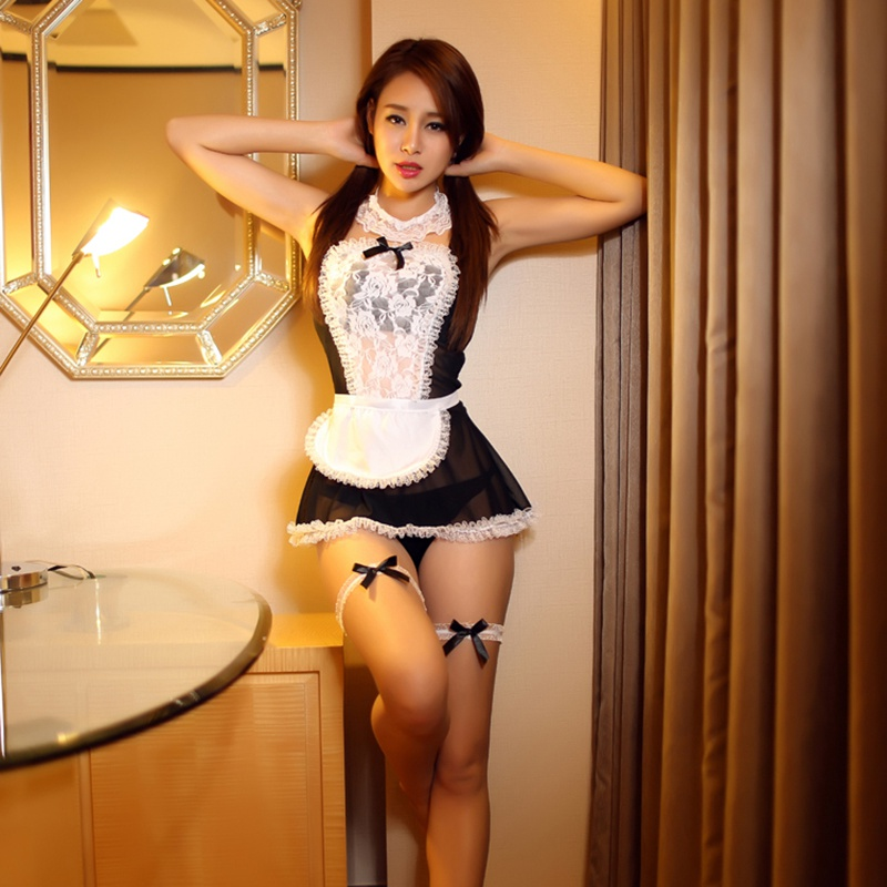 Exotic Lace Transparent Suits Sexy Maid Outfit Hairpin + Strap + Top + Apron + Underwear + Leg Ring
