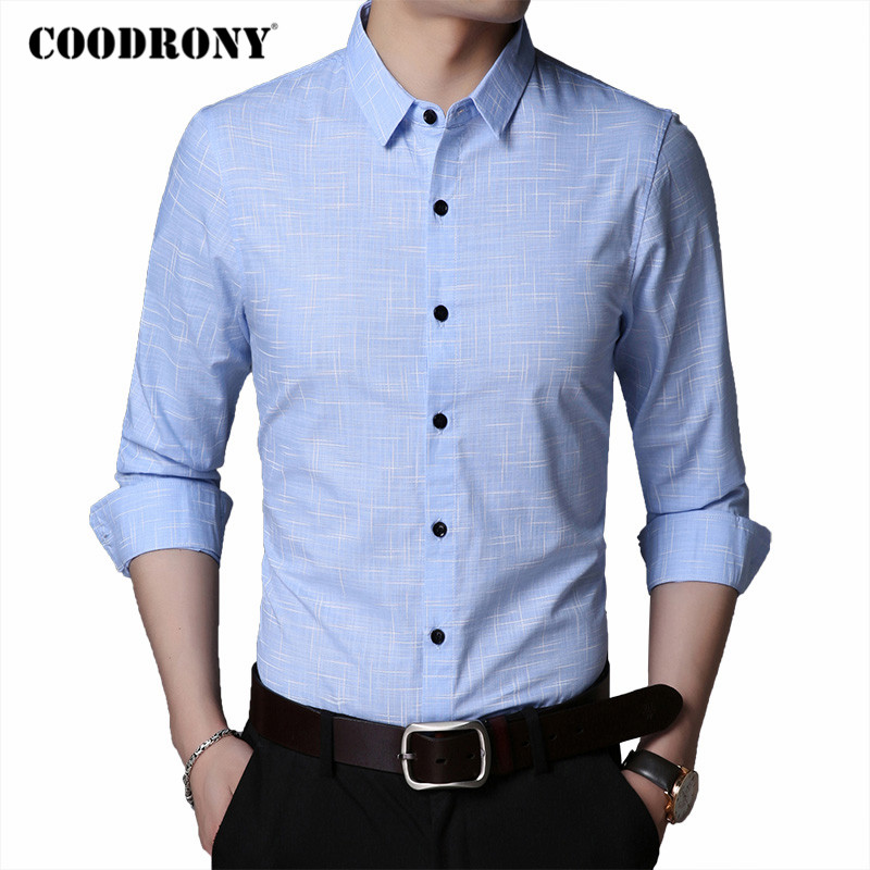 COODRONY Brand Fashion Striped Long Sleeve Shirt Men Spring Autumn Mens Social Business Casual Shirts Cotton Chemise Homme C6028