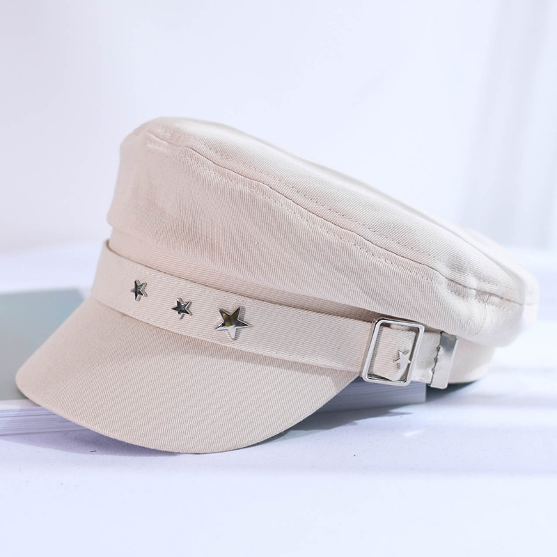 Spring and autumn versatile five-pointed star flat hat ladies shopping fashion hat new fashion cloth buckle hat