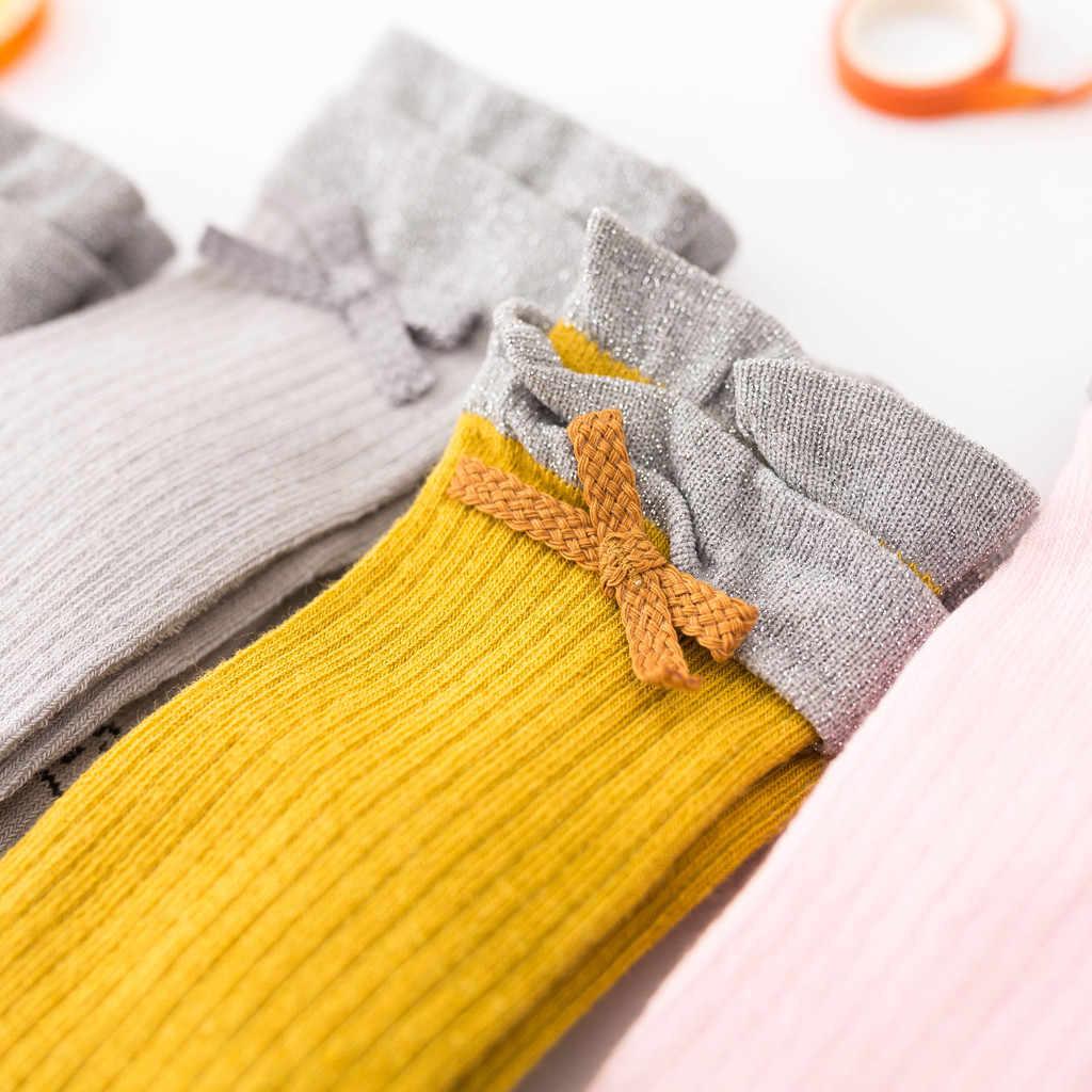 Calcetines de algodón para niños pequeños hasta la rodilla de princesa calcetines para niños pequeños bebés niños sólidos antideslizantes de punto calcetines largos calcetines de rodilla # C