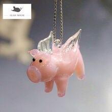 Подвесная декоративная мини фигурка из муранского стекла розовая