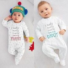 Комбинезон с длинными рукавами для новорожденных мальчиков и девочек, Хлопковая пижама с надписью I love Mum Dad, одежда для детей от 0 до 18 месяцев
