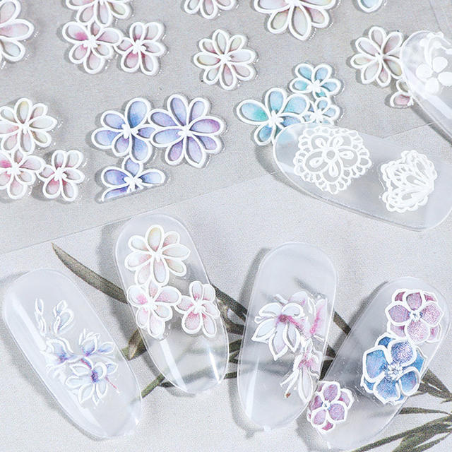 5D Nail Stickers Colorful Embossed Flowers Self-adhesive Transfer Decals Sticker Nail Art Decorations Mixed Pattern Nail Designs