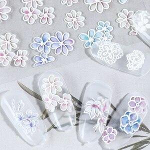 5D pegatinas de uñas coloridas flores en relieve autoadhesivas pegatinas de transferencia pegatina decoración de Arte de uñas diseños de uñas de patrón mixto