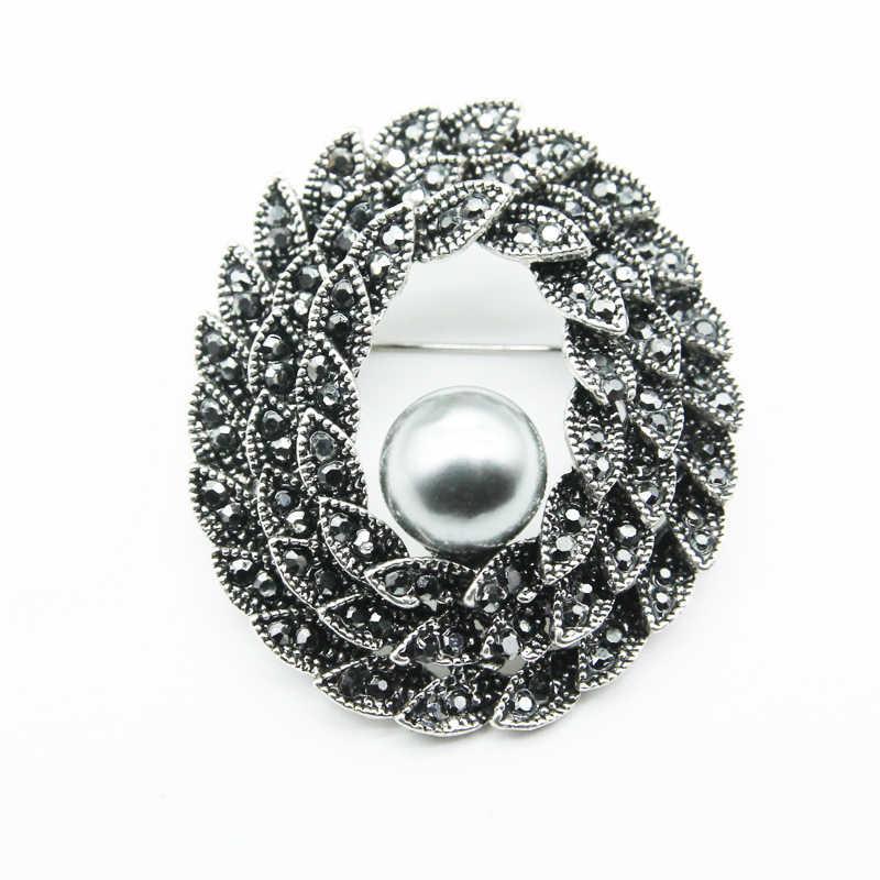 Vintage Black Pearl Spille per Le Donne E Gli Uomini Vestiti da Cerimonia Nuziale Dei Monili Perni D'epoca Nero Fiore Spilla Pins
