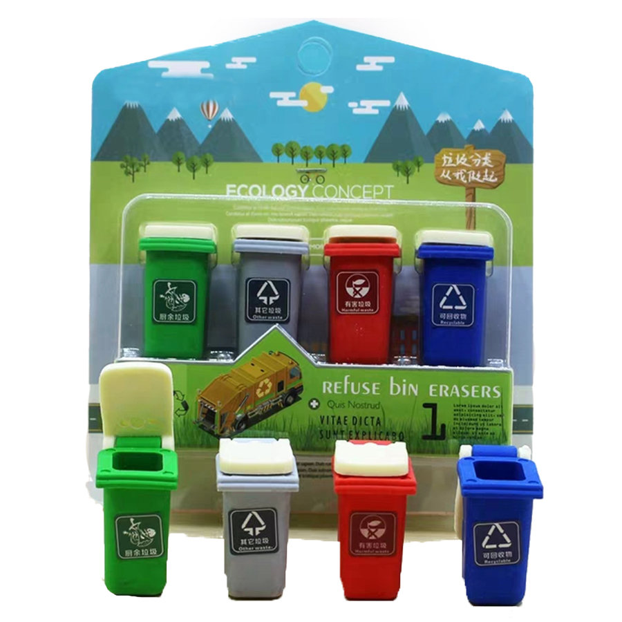 2020 New Arrival  Refuse Bin Eraser  Magic Design Middle School Stationery New Ecology Concept School Eraser 8 Pieces Per Lot